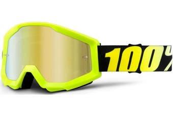 (Neon Yellow/Gold Mirror Lens) - 100% Strata Unisex Enduro Goggles