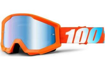 (Orange/Blue Mirror Lens) - 100% Strata Unisex Enduro Goggles