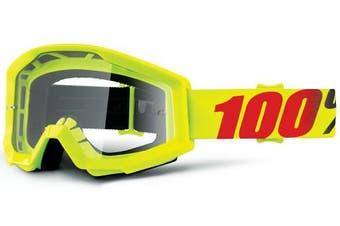 (Yellow//Clear Lens) - 100% Strata Unisex Enduro Goggles