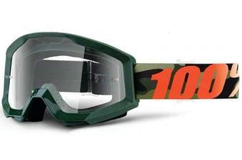 (Army Green/Clear Lens) - 100% Strata Unisex Enduro Goggles