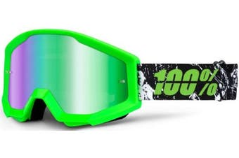 (Crafty Lime/Green Mirror Lens) - 100% Strata Unisex Enduro Goggles