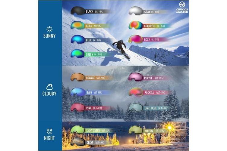(VLT 15.8%) - OutdoorMaster OTG Ski Goggles - Over Glasses Ski/Snowboard Goggles for Men, Women & Youth - 100% UV Protection
