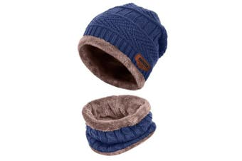 (One Size, Navy blue) - Aibrou Men Winter Beanie Scarves Warm Knitted 2 Pieces Outdoor Sports Skiing Hat and Scarf Set