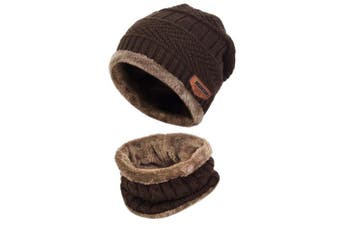 (One Size, Coffee) - Aibrou Men Winter Beanie Scarves Warm Knitted 2 Pieces Outdoor Sports Skiing Hat and Scarf Set