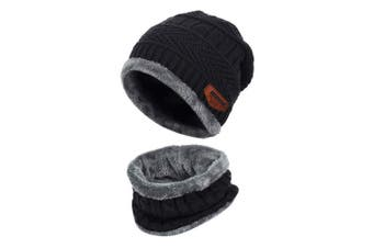 (One Size, Black) - Aibrou Men Winter Beanie Scarves Warm Knitted 2 Pieces Outdoor Sports Skiing Hat and Scarf Set