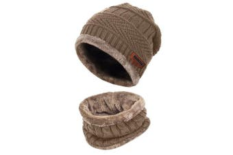 (One Size, Khaki) - Aibrou Men Winter Beanie Scarves Warm Knitted 2 Pieces Outdoor Sports Skiing Hat and Scarf Set