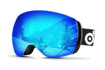 (VLT 20% Revo Blue Frameless) - Odoland Ski Goggles, Snowboard Goggles for Adult Man & Woman– UV400 Protection and Anti-Fog – Double Grey Spherical Lens Comfortable for Sunny and Cloudy Days Perfect for Skating Skiing Snowmobiles