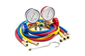 Biltek HVAC R12 R22 R502 A/C Diagnostic Manifold Gauge Kit w/ 3 Colour 150cm Charging Hose