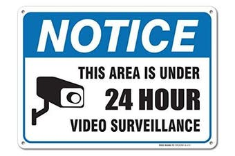 24 Hour Video Surveillance Sign By SigoSigns- Avoid Intruders Using Large 25cm x 36cm Warning-USA Made Of Rust Free Aluminium-UV Printed With Professional Graphics-Easy To Mount Indoors & Outdoors