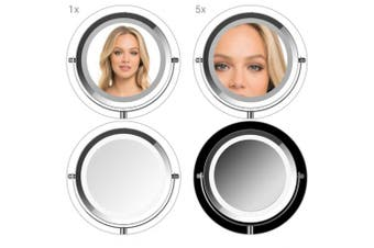 (5x magnification, silver) - Navaris LED Illuminated Makeup Mirror - Two-Sided Vanity Mirror with Normal and 5x Magnification - 2-in-1 360° Swivel Cosmetics Mirror - Silver