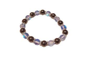 (Blue Moonstone Polaris) - Colourful 8mm Magnetic Hematite Healing Stretch Bracelet Arthritis Migraines Headaches - Choice of Colour - Approx 19cm