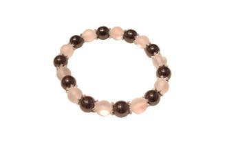(Clear Moonstone Polaris) - Colourful 8mm Magnetic Hematite Healing Stretch Bracelet Arthritis Migraines Headaches - Choice of Colour - Approx 19cm