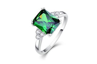 (L 1/2) - Bonlavie Women's 5.3ct Square Cut Created Green Emerald 925 Sterling Silver Engagement Ring