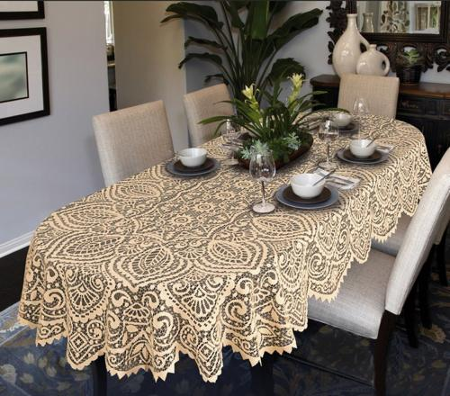 140cm X 240cm 55 X 95 Oval Beige Lace Large Tablecloth Oval Or Round White Or Beige Premium Quality 140cm X 240cm 55 X 95 Oval Beige Matt Blatt