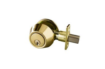 Design House 727438 Single Cylinder Deadbolt, Polished Brass