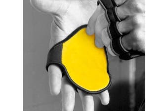 (Egg Yolk Yellow) - The Best Gym Glove, Isn't A Glove! Leather Weight Lifting Grip w/ 4 Finger Neoprene Backing