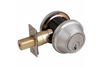 Design House 702274 C-Series Single Cylinder 2-Way Latch Deadbolt, Satin Nickel Finish