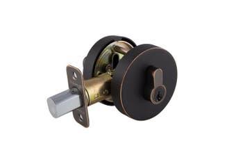 Design House 581850 Emblem Round Single Cylinder Deadbolt, Brushed Bronze