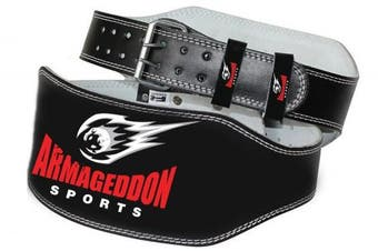 (Small) - ARMAGEDDON SPORTS Weight Lifting Belt - 15cm Genuine Leather Padded Gym Belt - Supports and reduces stress - Ensures comfort and protection - Premium Quality