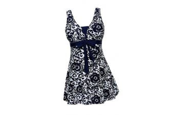 (UK 20-22, Dark Blue) - AMAGGIGO Women's Polka Dot One Piece Swimsuit Tummy Control Swimwear Swimdress with Skirt(FBA)