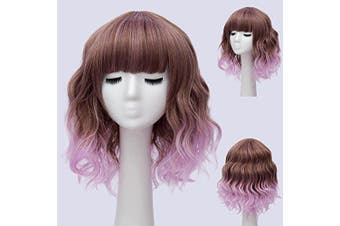 (Brown Ombre Purple) - Alacos Fashion 35cm Short Curly Bob Anime Cosplay Wig Daily Party Christmas Halloween Synthetic Heat Resistant Wig for Women +Free Wig Cap (Brown Ombre Purple)