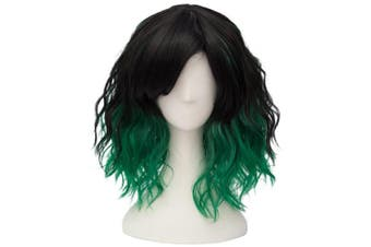 (Black Green Ombre) - Alacos Fashion 35cm Short Curly Bob Anime Cosplay Wig Daily Party Christmas Halloween Synthetic Heat Resistant Wig for Women +Free Wig Cap (Black Green Ombre)