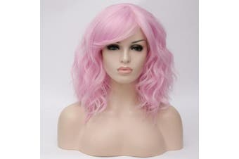 (Pink-Purple Side Parting) - Alacos Fashion 35cm Short Curly Bob Anime Cosplay Wig Daily Party Christmas Halloween Synthetic Heat Resistant Wig for Women +Free Wig Cap (Pink-Purple Side Parting)