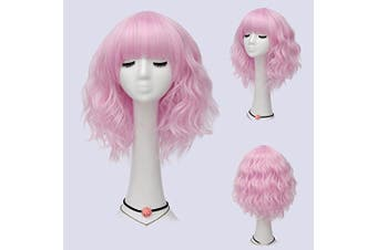 (Pink-Purple Brow-Skimming Bangs) - Alacos Fashion 35cm Short Curly Bob Anime Cosplay Wig Daily Party Christmas Halloween Synthetic Heat Resistant Wig for Women +Free Wig Cap (Pink-Purple Brow-Skimming Bangs)