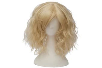 (Light Gold Side Parting) - Alacos Fashion 35cm Short Curly Bob Anime Cosplay Wig Daily Party Christmas Halloween Synthetic Heat Resistant Wig for Women +Free Wig Cap (Light Gold Side Parting)