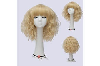 (Light Gold Brow-Skimming Bangs) - Alacos Fashion 35cm Short Curly Bob Anime Cosplay Wig Daily Party Christmas Halloween Synthetic Heat Resistant Wig for Women +Free Wig Cap (Light Gold Brow-Skimming Bangs)