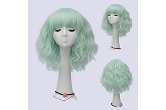 (Neon Green Brow-Skimming Bangs) - Alacos Fashion 35cm Short Curly Bob Anime Cosplay Wig Daily Party Christmas Halloween Synthetic Heat Resistant Wig for Women +Free Wig Cap (Neon Green Brow-Skimming Bangs)