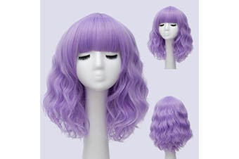 (Purple) - Alacos Fashion 35cm Short Curly Bob Anime Cosplay Wig Daily Party Christmas Halloween Synthetic Heat Resistant Wig for Women +Free Wig Cap (Purple)