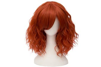(Dark Orange Side Parting) - Alacos Fashion 35cm Short Curly Bob Anime Cosplay Wig Daily Party Christmas Halloween Synthetic Heat Resistant Wig for Women +Free Wig Cap (Dark Orange Side Parting)