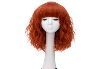(Dark Orange Brow-Skimming Bangs) - Alacos Fashion 35cm Short Curly Bob Anime Cosplay Wig Daily Party Christmas Halloween Synthetic Heat Resistant Wig for Women +Free Wig Cap (Dark Orange Brow-Skimming Bangs)