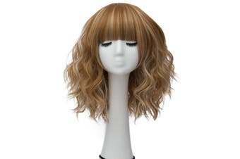 (Brown Highlight Grey Brow-Skimming Bangs) - Alacos Fashion 35cm Short Curly Bob Anime Cosplay Wig Daily Party Christmas Halloween Synthetic Heat Resistant Wig for Women +Free Wig Cap (Brown Highlight Grey Brow-Skimming Bangs)