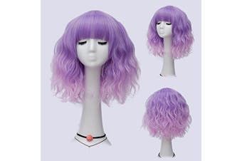 (Purple Pink Ombre Brow-Skimming Bangs) - Alacos Fashion 35cm Short Curly Bob Anime Cosplay Wig Daily Party Christmas Halloween Synthetic Heat Resistant Wig for Women +Free Wig Cap (Purple Pink Ombre Brow-Skimming Bangs)