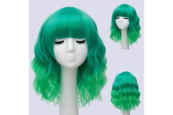 (Green Ombre) - Alacos Fashion 35cm Short Curly Bob Anime Cosplay Wig Daily Party Christmas Halloween Synthetic Heat Resistant Wig for Women +Free Wig Cap (Green Ombre)