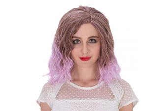 (Brown Ombre to Purple) - Alacos Fashion 35cm Short Curly Full Head Wig Heat Resistant Daily Dress Carnival Party Masquerade Anime Cosplay Wig +Wig Cap (Brown Ombre to Purple)