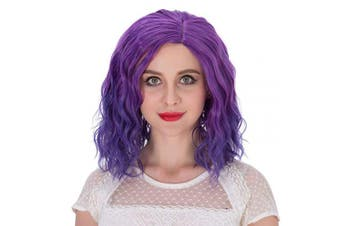 (Purple Ombre) - Alacos Fashion 35cm Short Curly Full Head Wig Heat Resistant Daily Dress Carnival Party Masquerade Anime Cosplay Wig +Wig Cap (Purple Ombre)
