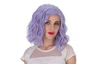 (Silver Blue-Purple) - Alacos Fashion 35cm Short Curly Full Head Wig Heat Resistant Daily Dress Carnival Party Masquerade Anime Cosplay Wig +Wig Cap (Silver Blue-Purple)