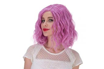 (Pink-Purple) - Alacos Fashion 35cm Short Curly Full Head Wig Heat Resistant Daily Dress Carnival Party Masquerade Anime Cosplay Wig +Wig Cap (Pink-Purple)