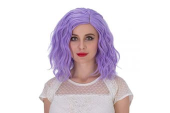 (Purple) - Alacos Fashion 35cm Short Curly Full Head Wig Heat Resistant Daily Dress Carnival Party Masquerade Anime Cosplay Wig +Wig Cap (Purple)