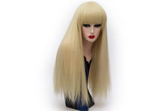 Alacos Fashion 65CM Long Straight Lolita Harajuku Brow-Skimming Bangs Daily Party Costumes Wigs for Women +Free Wig Cap (Light Gold)