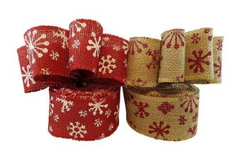 Christmas Holiday Burlap Ribbon with Wired Edge - Decorate Wreaths, Gift Wrap, Christmas Tree, Bows, DIY Craft Projects - 2 Rolls, Each 2.5 Wide x 10 Yards Long
