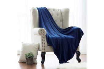 (King(270cm  x 230cm ), Navy) - Flannel Fleece Luxury Blanket Navy King Size Lightweight Cosy Plush Microfiber Solid Blanket by Bedsure