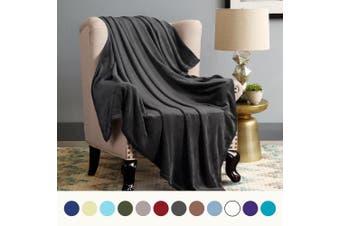 (Twin(150cm  x 200cm ), Dark Grey) - Flannel Fleece Luxury Blanket Dark Grey Twin Size Lightweight Cosy Plush Microfiber Solid Blanket by Bedsure