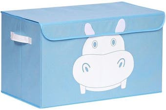 (Blue) - Katabird Storage Bin for Toy Storage - Large - Collapsible Chest Box Organiser with Lid for Nursery, Baby, Clothes, Kids Playroom, Pets, Children Books, Stuffed Animal, Dog Toys, Gift Baskets