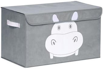 (Grey) - Katabird Storage Bin for Toy Storage - Large - Collapsible Chest Box Toys Organiser with Lid for Kids Playroom, Nursery, Baby Clothing, Children Books, Stuffed Animal, Gift Baskets