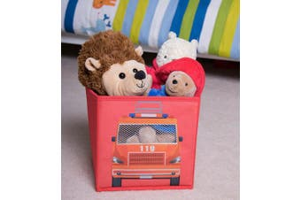 (02-fire Truck) - Fire Truck Collapsible Storage Organiser by Clever Creations | Firetruck Storage Box Folding Storage Ottoman for Your Bedroom | Perfect Size Storage Chest for Books, Shoes & Games