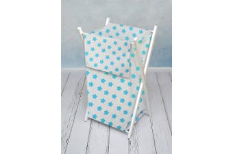 (Big turquoise stars on white) - Baby Laundry Basket Nursery Hamper Bag Storage BIN with Removable Linen 70 Litre Natural Wood Frame (Big Turquoise Stars on White)